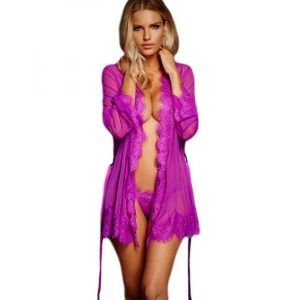 Purple Sheer Robe With Panty