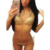 Sexy Women Eyelash Golden Bra Set