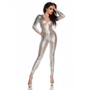 Sexy vinyl jumpsuit silver