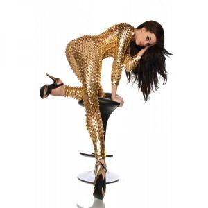 Sexy vinyl jumpsuit gold
