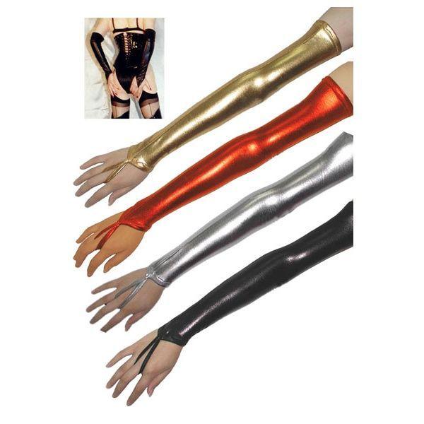 Длинные виниловые перчатки серебро