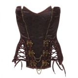 Sexy Steampunk Corset Brown S-6XL