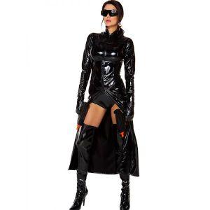 Gothic Black Wetlook Vinyl Dress