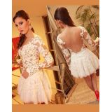 White female Prom Lace Mini Patchwork Dress
