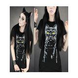 Black Night Cat Gothic T-Shirt