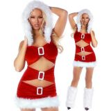 Red White Fancy Ruffled Metal Fluff Chrismas Dress