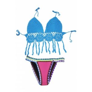 Blue swimsuit with crochet panels