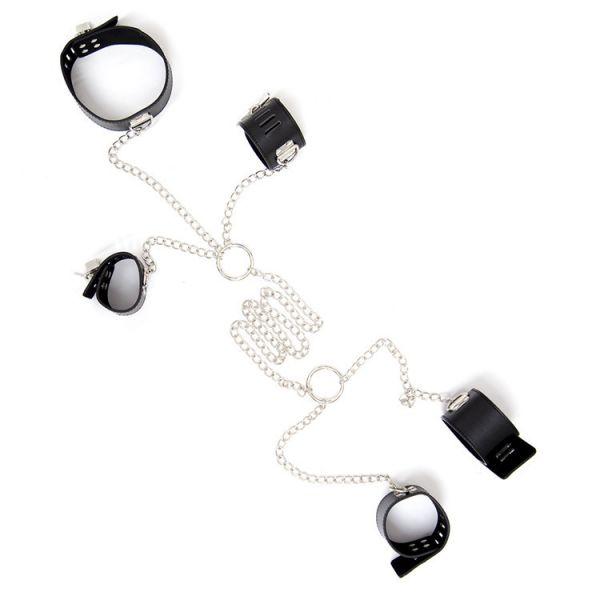 Комплект для фиксации из ошейника, наручников и поножей на цепочке