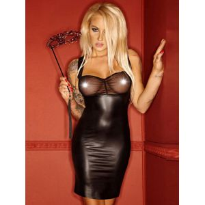 Mini Wetlook Dress With Transparent Tulle
