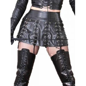 Black Vinyl Sexy Women Skirt