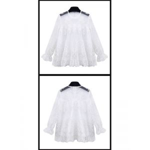 White Long Sleeve Lace Blouse. Артикул: IXI50652