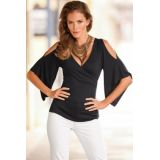 Black V Neck Slit Sleeve Wrap Top