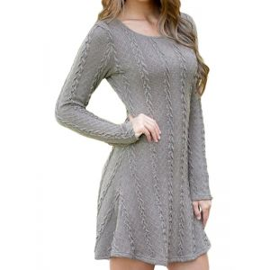 Gray Long Sleeve Sweater Dress. Артикул: IXI51236