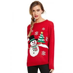 Christmas Women Red Pullover Sweater. Артикул: IXI51243