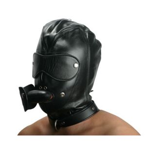 Leather mask with holes for mouth and eyes