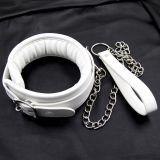 BDSM (БДСМ) - Кожаный белый ошейник с мягкой подкладкой Unisex
