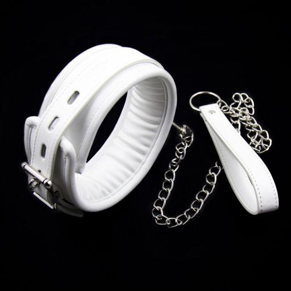 BDSM (БДСМ) - <? print Кожаный белый ошейник с мягкой подкладкой Unisex; ?>