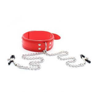 Leather collar with nipple clamps Unisex