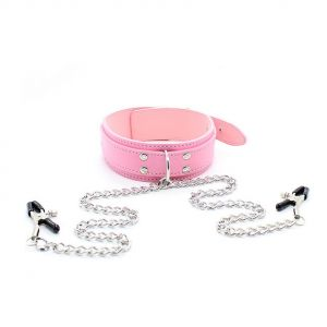 Pink collar with nipple clamps