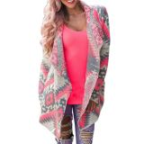 Geometric Printed Long Sleeve Cardigan For Women