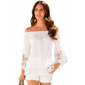 White Off-The-Shoulder Lace Trim Blouse. Артикул: IXI51410