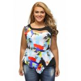 Pee-a-boo Graffiti Patchwork Big Girl Tank Top