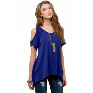 Blue V Neck Cold Shoulder Swing Top. Артикул: IXI51443