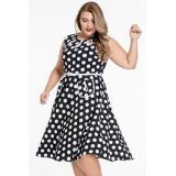 Black Plus Size Polka Dot Bohemain Print Dress with Keyholes