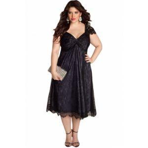 Elegant Lace Embellished Black Plus Size Dress - * Большие размеры