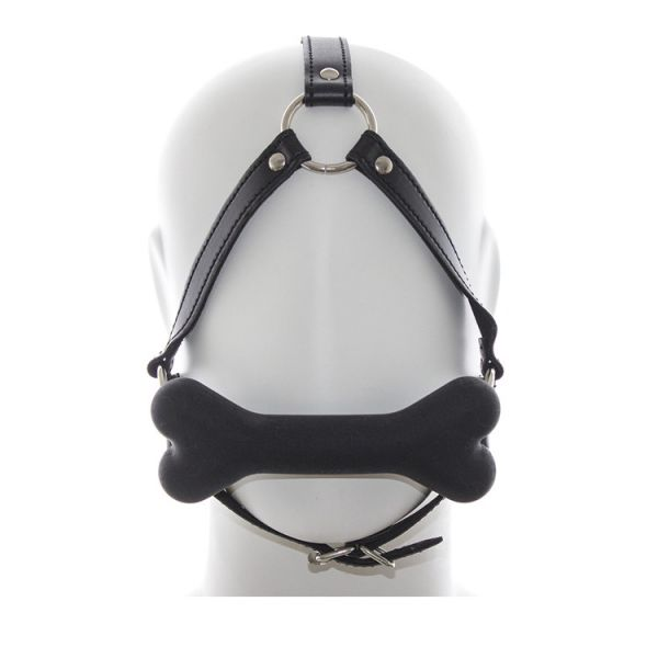 Black gag harness with bone. Артикул: IXI51698