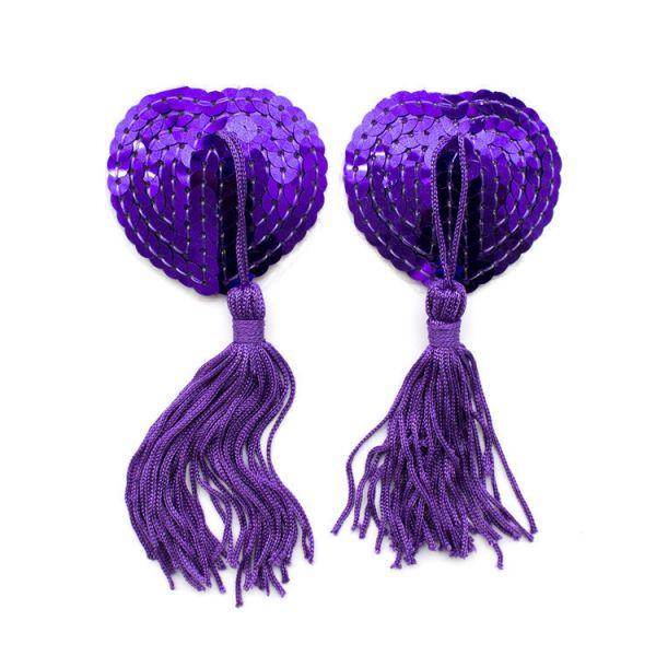 Фиолетовые стикини на соски с паетками