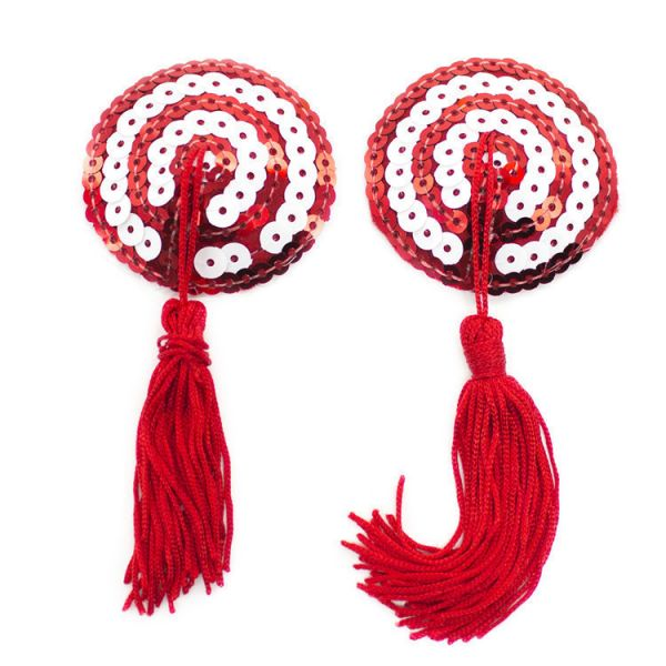 Красно-белые стикини с пайетками и кисточками