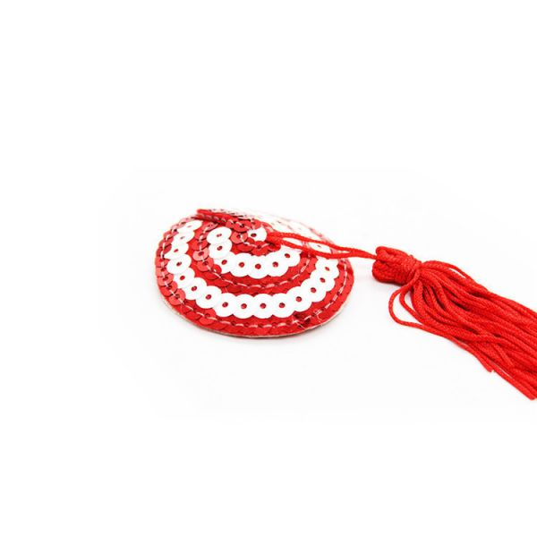 Red-white stikine with sequins and tassels. Артикул: IXI51796