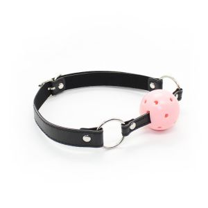 Classic black ball gag with pink ball