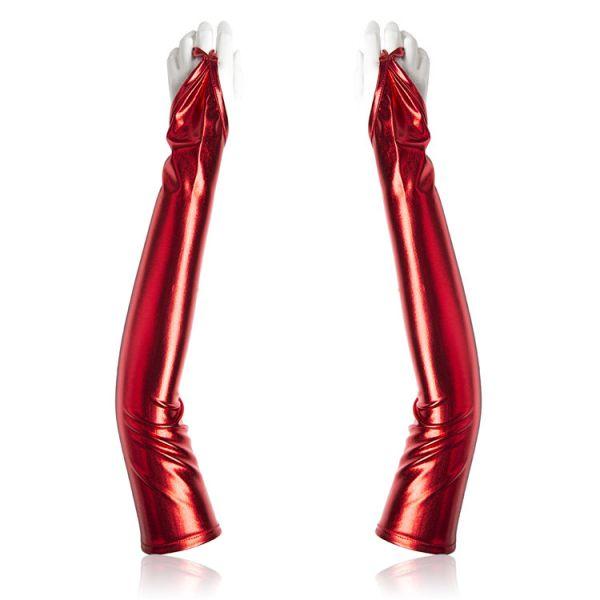 Виниловые длинные перчатки красные
