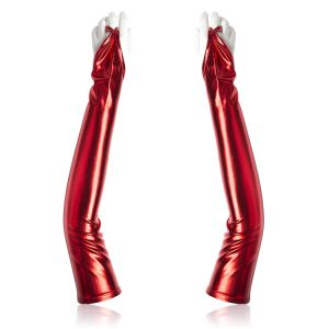 Long vinyl gloves red