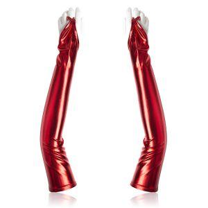 Long vinyl gloves red