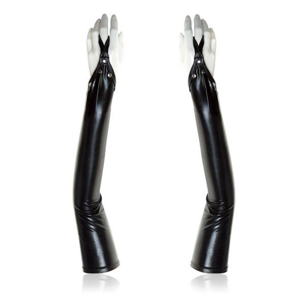 BDSM (БДСМ) - Черные виниловые перчатки с открытыми пальцами