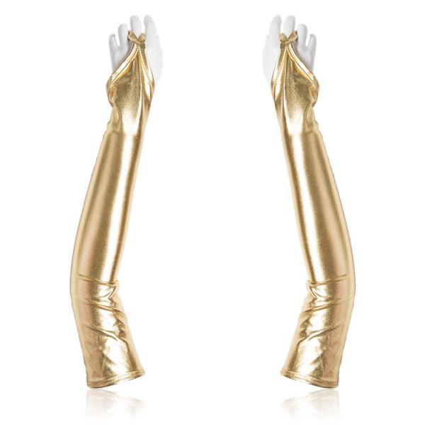 Золотистые виниловые перчатки с открытыми пальцами