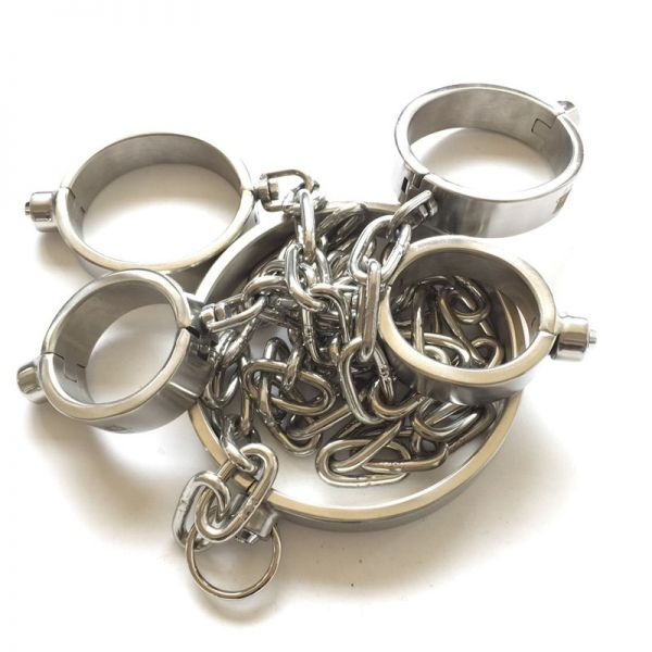 BDSM (БДСМ) - <? print Stainless Steel Handy Handcuffs Hand and Foot Neck Has Metal Chain - Man; ?>