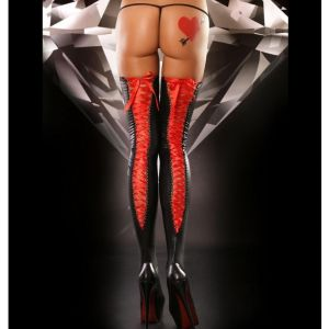 Vinyl stockings with red tie