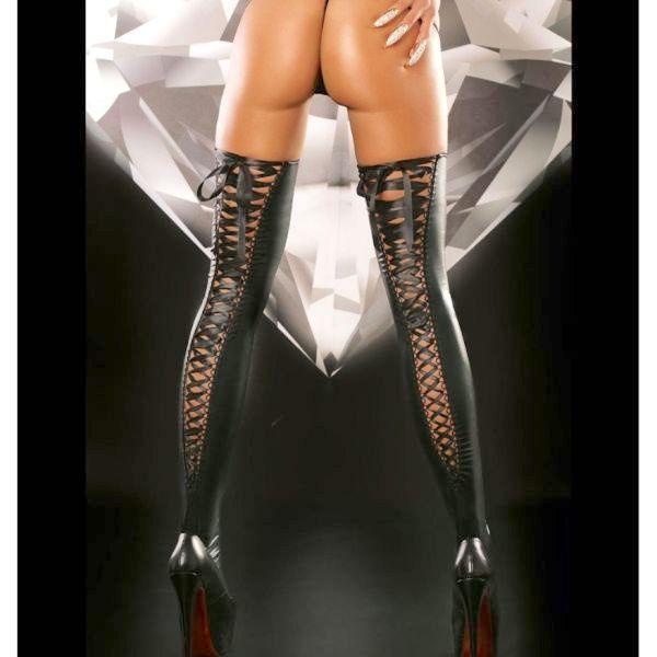 BDSM (БДСМ) - Блестящие виниловые чулки на завязках