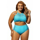 Sky Blue Patterned Mesh Insert Plus Size Swimwear