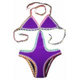 Purple Handmade Crochet Neoprene One Piece Swimsuit по оптовой цене