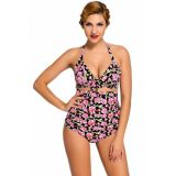 Floral Print Black Retro High Waist 2 Pieces Swimsuit