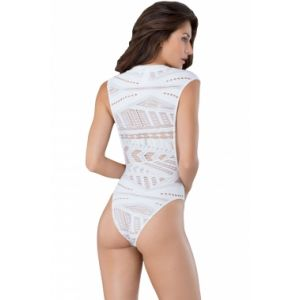 White Open Arm Crotchless Asymmetric hollow-out Pattern Teddy