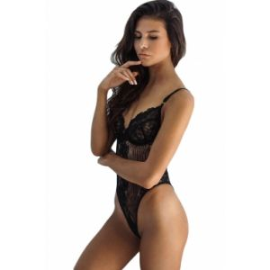 Black lace body with deep cutouts for the feet
