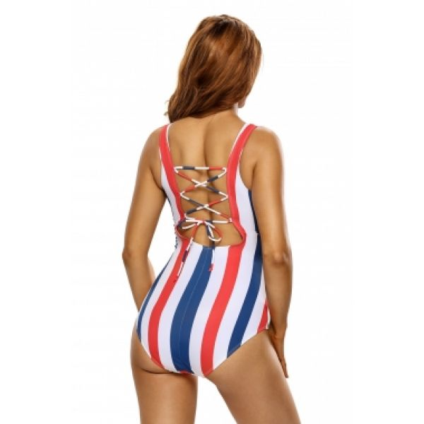One-piece swimsuit with tri-color stripes lace-up. Артикул: IXI52957