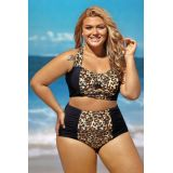 Contrast Leopard Splice Curvy high Waist Swimsuit