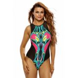 Cartoon Flamingo Print Zipped Black Mesh Monokini